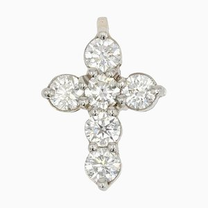 Colgante con cruz francesa de platino y diamantes