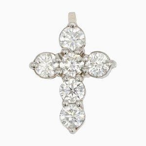 Französischer Platin Diamant Kreuz Anhänger