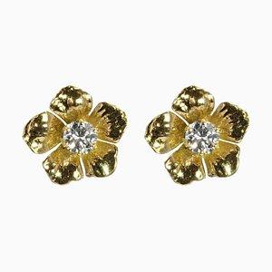 Französische Blumenohrringe aus 18 Karat Gelbgold mit Diamanten, 1960er, 2er Set