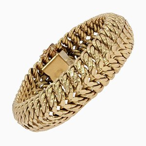 French American Curb 18 Karat Yellow Gold Bracelet, 1960s
