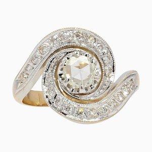 French 20th Century Diamond 18 Karat Yellow White Gold Swirl Ring