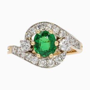 Französischer Ring aus 18 Karat Gelbgold mit Grünen Granat und Diamanten