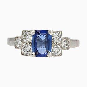 Französischer Art Deco Stil Saphir Diamanten Platin Ring