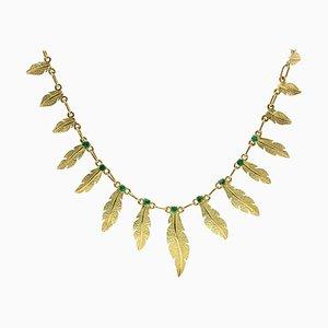 Collar francés de plumas de oro amarillo de 18 quilates