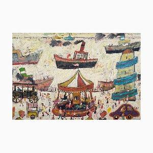 Fun Fair on the Harbour Wall, pintura al óleo figurativa contemporánea