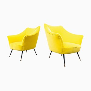 Mid-Century Italian Yellow Fabric Armchairs, 1960s, Set of 2
