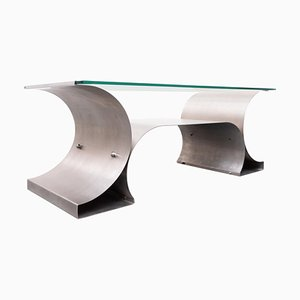 Mid-Century Italian Table in Brushed Steel and Glass, 1970s