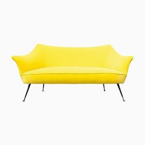 Italienisches Mid-Century Sofa mit gelbem Stoffbezug, 1960er