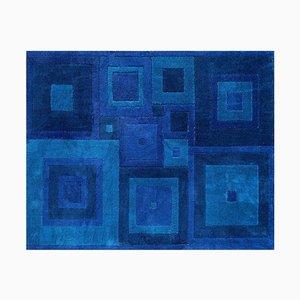 Mid-Century Ross Littell Blue Square Dance Carpet, 1960s