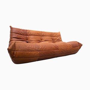 Caramel Leather Togo Three-Seater Sofa by Michel Ducaroy, Ligne Roset, 1970s