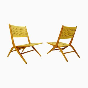 Folding Rope Lounge Chairs, 1960s, Set of 2