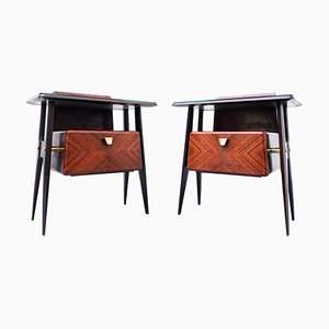 Mid-Century Italian Nightstands in Wood and Glass, 1950s, Set of 2
