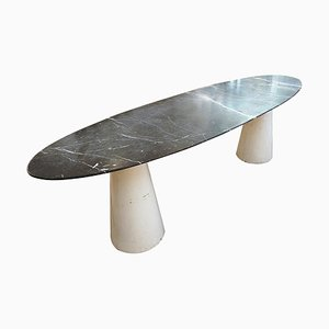 Large Mid-Century Oval Marble Console Table, Italy, 1970s