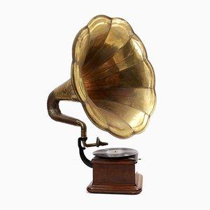 Large Antique Brass Gramophone, 1920s
