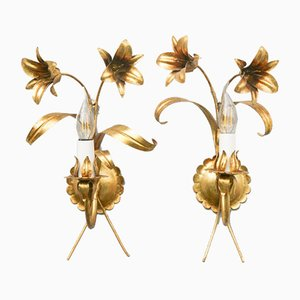 Mid-Century Blossom Wall Lamps in Gold-Colored Metal by Hans Kögl, Set of 2