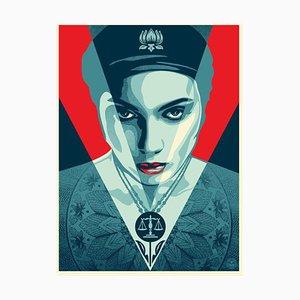 Shepard Fairey, Obey, mujer de la justicia roja, 2021