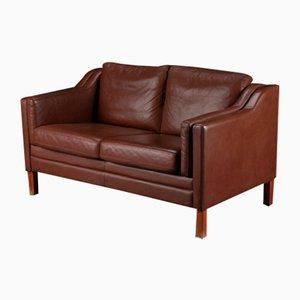 Dänisches Vintage 2-Sitzer Sofa aus cognacfarbenem Leder