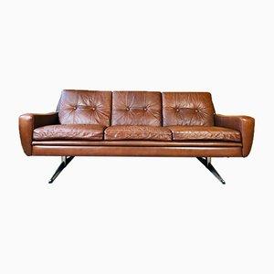 Vintage Danish Cognac 3 Person Sofa by Svend Skipper, 1966