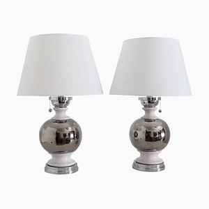 Italian Ceramic Table Lamps in Platinum Silver White Glaze by Bitossi, 1970s, Set of 2