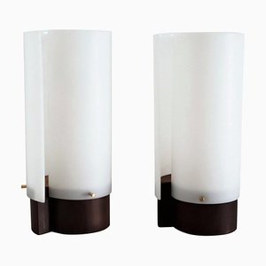 Italian Teakwood Table Lamps with Methacrylic Curved Shades by Gino Sarfatti, 1950s, Set of 2