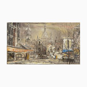Pintura vintage, óleo sobre lienzo, Piazzetta Di Montmartre Juinji, Yamashita