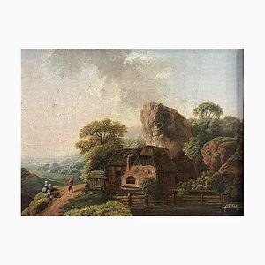 Antikes flämisches Gemälde, Öl auf Tisch, 1743