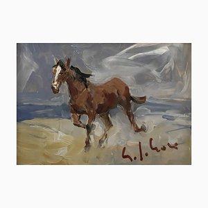 Gino Paolo Gori, Cavallo, 20th Century, Watercolor Painting