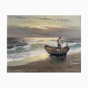 M Rinaldi, Antikes Gemälde, Barca in Secca, 1919, Öl auf Leinwand