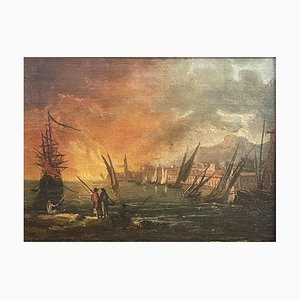 Antique Painting, Oil on Table, Marina With Boats, Naples, 1700