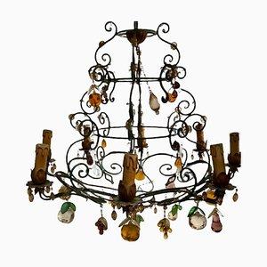 Lámpara de araña vintage de hierro forjado