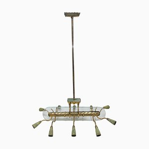 Italian Mid-Century Modern Chandelier in the Style of Pietro Chiesa for Fontana Arte, 1950s