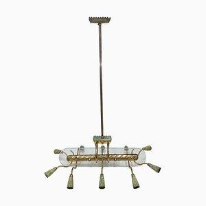 Lámpara de araña italiana Mid-Century moderna al estilo de Pietro Chiesa para Fontana Arte, años 50