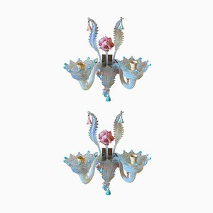 Apliques florales barrocos de principios del siglo XX de cristal de Murano opalescente. Juego de 2