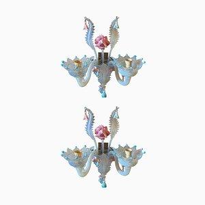 Florale barocke Wandleuchten aus Muranoglas, frühes 20. Jh., 2er Set