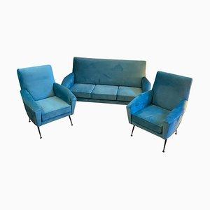 Sofá italiano Mid-Century moderno de terciopelo azul y latón con butacas, años 60. Juego de 3