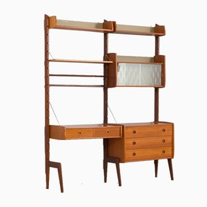Teak 2-Bay Ergo Modular Wall Unit with Desk, 3 Shelves & 2 Cabinets by John Texmon for Blindheim Møbelfabrikk, 1960s