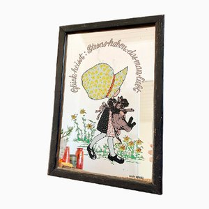 Framed Mirror with Illustration of Girl for Kid's Room by Holly Hobbie