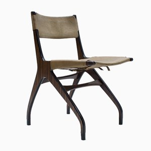 Italian Wooden Chair with Leather Cover, 1960s