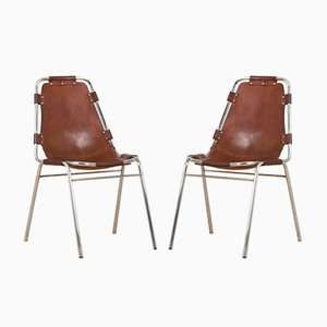 Les Arc Chairs in Brown Leather by Charlotte Perriand, Set of 2