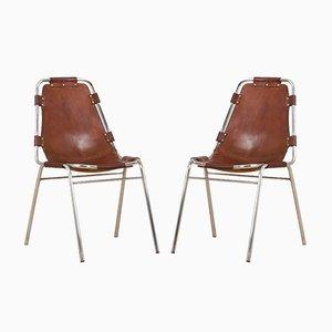 Les Arc Stühle aus Braunem Leder von Charlotte Perriand, 2er Set