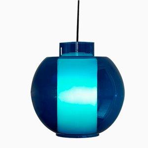 Vintage Hängelampe aus blauem Opalglas, 1960er