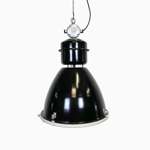 Large Industrial Factory Lamp in Black with Clear Glass Cover from Elektrosvit, 1960s