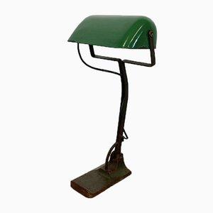 Grün emaillierte Vintage Banklampe von Astral, 1930er