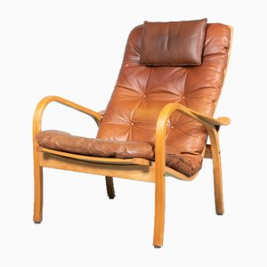 Swedish Leather Lamino Lounge Chair by Yngve Ekström for Swedese, 1960s