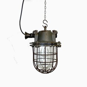 Industrial Cast Iron Cage Pendant Lamp in Grey, 1960s