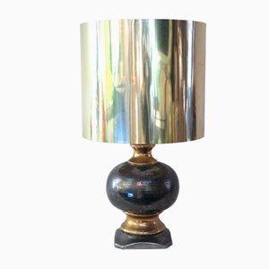 Lampe en Céramique avec Abat-Jour Argenté, 1970s