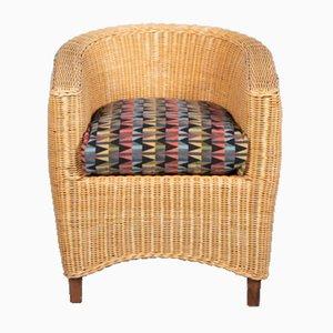 Silla bohemia vintage de caña con tapicería nueva, años 70