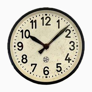 Reloj de pared industrial en negro de Chronotechna, años 50