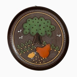 Vintage Rural Wall or Serving Plate with Chicken Decoration from KMK Manuell, 1970s