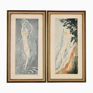 Art Deco Etchings of Nudes in the Waves by Louis Icart, Set of 2